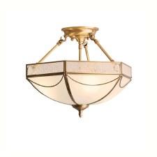 Interiors 1900 Russel Semi Flush Ceiling 3 Light Antique Brass