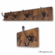 Rustic Hook Board with 5 Iron Decorative Hooks 80cm