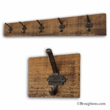 Rustic Pine Hook Board with 5 Iron Made in Leicester Hooks 100cm