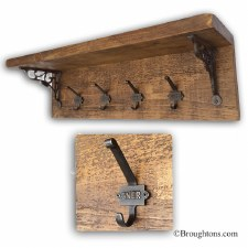 Rustic Pine Hook Board with Shelf and 4 GNER Iron Hooks 80cm