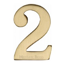 Heritage Self Adhesive C1568 House Number 2 Satin Brass