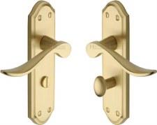 Heritage Sandown Bathroom Door Handles SAN1430 Satin Brass Lacquered