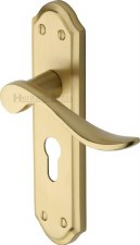 Heritage Sandown Euro Lock Door Handles SAN1448 Satin Brass Lacquered