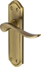 Heritage Sandown Latch Door Handles SAN1410 Antique Brass Lacquered