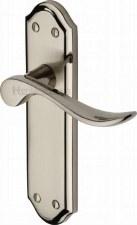 Heritage Sandown Latch Door Handles SAN1410 Satin & Pol Nickel