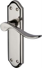 Heritage Sandown Latch Door Handles SAN1410 Polished Nickel