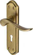 Heritage Sandown Door Lock Handles SAN1400 Antique Brass Lacquered