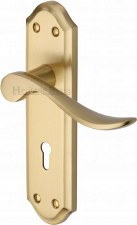 Heritage Sandown Door Lock Handles SAN1400 Satin Brass Lacquered