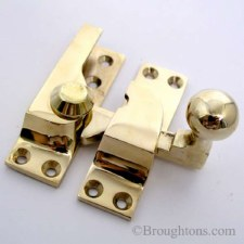 Croft Sash Fastener Polished Brass Unlacquered Ball Knob