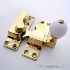 Croft Sash Fastener Polished Brass Unlacquered White Knob