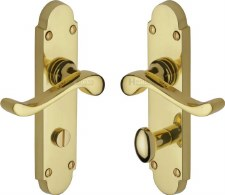 Heritage Savoy S620 Bathroom Door Handles Polished Brass Lacquered