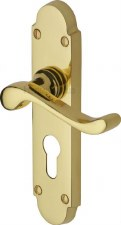 Heritage Savoy Euro Lock Door Handles S607 Polished Brass Lacquered
