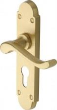 Heritage Savoy Euro Lock Door Handles S607 Satin Brass Lacquered