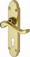 Heritage Savoy S600 Door Lock Handles Polished Brass Lacquered