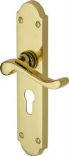 Heritage Savoy Euro Lock Handles V757 Polished Brass Lacquered