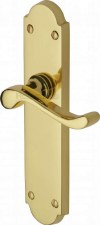 Heritage Savoy Latch Door Handles V760 Polished Brass Lacquered