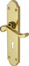 Heritage Savoy Door Lock Handles V750 Polished Brass Lacquered