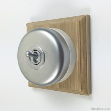 Round Dolly Light Switch on Wooden Base Satin Chrome 1 Gang