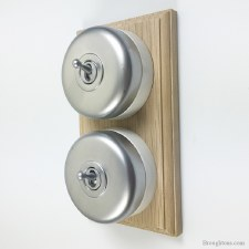 Round Dolly Light Switch on Wooden Base Satin Chrome 2 Gang