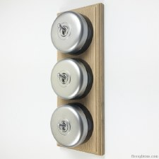Round Dolly Light Switch on Wooden Base Satin Chrome 3 Gang
