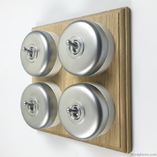 Round Dolly Light Switch on Wooden Base Satin Chrome 4 Gang