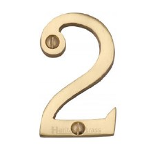 Heritage Screw Fix House Numbers C1567 2 Polished Brass