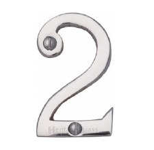 Heritage Screw Fix House Numbers C1567 2 Polished Chrome