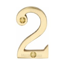 Heritage Screw Fix House Numbers C1567 2 Satin Brass