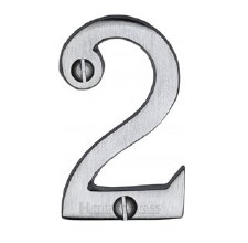 Heritage Screw Fix House Numbers C1567 2 Satin Chrome