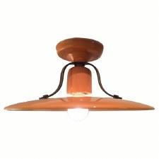 Italian Ceramic Semi-Flush Ceiling Light Giallo