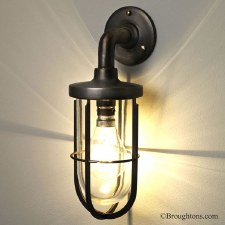 Ships Outdoor Wall Lamp with Guard Antique Brass