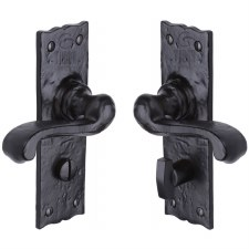 Heritage Tudor Shropshire Bathroom Door Handles TC120 Black Ironwork