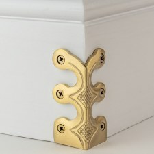Skiffer Skirting Board Corner Protector Satin Brass 75mm