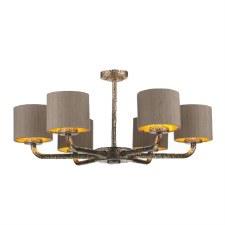 David Hunt SLO0600-GD Sloane 6 Light Pendant with Shades Bronze