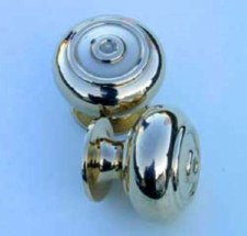 Small Ribbed Bun Knob Renovated Brass