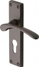 Heritage Sophia Euro Lock Door Handles V4146 Matt Bronze