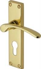 Heritage Sophia Euro Lock Door Handles V4146 Polished Brass Lacquered