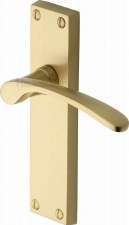 Heritage Sophia Latch Door Handles V4113 Satin Brass Lacquered