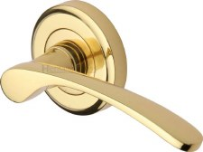 Heritage Sophia Round Rose Door Handles V1900 Polished Brass Lacq