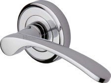Heritage Sophia Round Rose Door Handles V1900 Polished Chrome