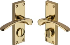 Heritage Sophia Privacy Door Handles V4144 Polished Brass Lacquered