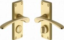 Heritage Sophia Privacy Door Handles V4144 Satin Brass Lacquered