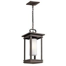 Kichler South Hope Outdoor Small Chain Lantern Rubbed Bronze
