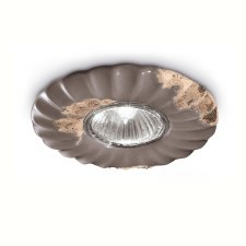 Italian Ceramic Flower Spot Light C480 Vintage Tortora