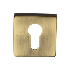 Heritage SQ5004 Square Euro Escutcheon Antique Brass Lacquered