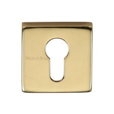 Heritage SQ5004 Square Euro Escutcheon Polished Brass Lacquered