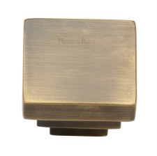Heritage Square Stepped Knob C3672 Antique Brass