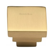 Heritage Square Stepped Knob C3672 Satin Brass