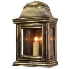 Stable Flush Outdoor Wall Light Lantern, Light Antique Brass