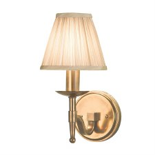 Stanford Single Wall Light Antique Brass Beige Shade